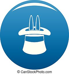 Hat with a rabbit ear icon blue vector
