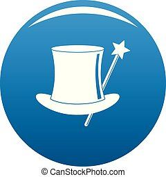 Hat with a wand icon blue vector