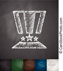hat with American flag icon. Hand drawn vector illustration