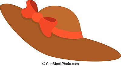 Hat with bow, illustration, vector on white background.