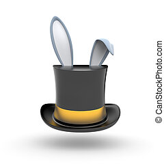Hat with Bunny ears - Black Top hat with gold stripe from ...