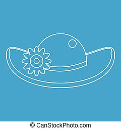Hat with flower icon, outline style