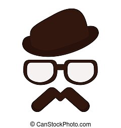 hat with glasses and mustache - brown classic hat with...