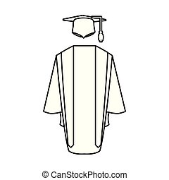 hat with gown graduation icon vector illustration design