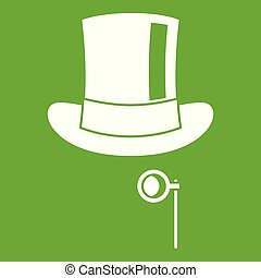Hat with monocle icon green - Hat with monocle icon white...