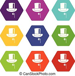 Hat with monocle icon set color hexahedron - Hat with...