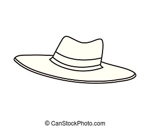 hat with ribbon on white background