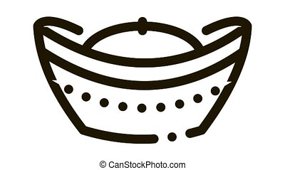 hat with top curled up Icon Animation. black hat with top curled up animated icon on white background