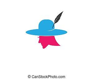 Hat woman symbol illustration