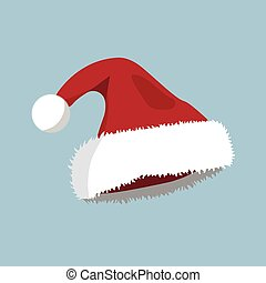 Hat XMas icon. Cartoon style. Vector Illustration for Christmas day