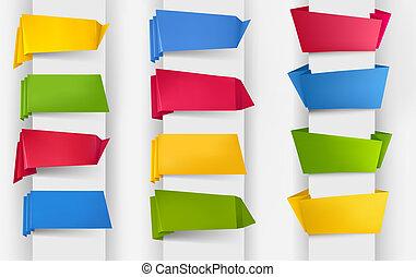 hatalmas, állhatatos, illustration., színes, dolgozat, banners., vektor, origami