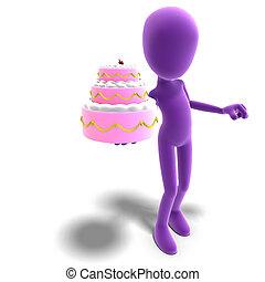 hatalmas, darabka, ikon, you., toon, felett, betű, ajándékoz, vakolás, torta, út, árnyék, hím, fehér, 3