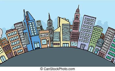 hatalmas, karikatúra, város égvonal