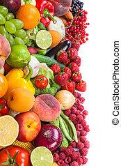 hatalmas, növényi, friss, csoport, gyümölcs