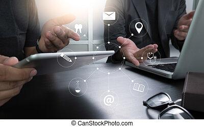 hatalom kezezés, dolgozó, üzletember, telefon., számítógép, digitális, smartphone, ember, technológia, berendezés, eszköz, modern, tabletta, mozgatható