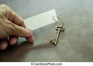 hatalom kezezés, kulcs, öreg, rézfúvósok, fehér, szüret, címke