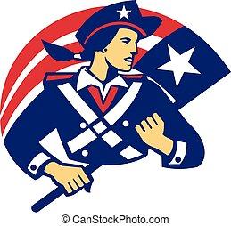 hatalom lobogó, minuteman, amerikai, retro, női