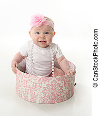 hatbox , μωρό , όμορφη , κάθονται