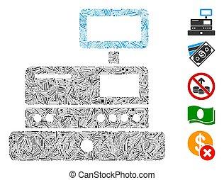 Hatch Cash Register Icon Vector Collage - Linear mosaic cash...