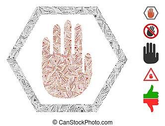 Hatch Collage Abort Hand Icon - Line Mosaic based on abort ...