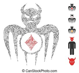 Line Mosaic based on gambling spectre devil icon. Mosaic vector gambling spectre devil is designed with randomized line items. Bonus icons are added.