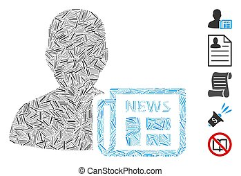 Hatch Collage Newsmaker Newspaper Icon - Line Collage based ...
