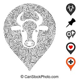 Hatch Cow Map Pointer Icon Vector Collage