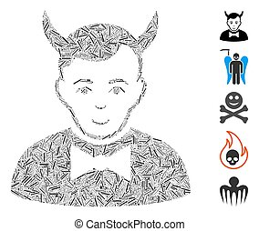 Line Mosaic based on devil icon. Mosaic vector devil is designed with randomized line items. Bonus icons are added.