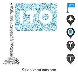 Line Mosaic based on ITO rectange flag icon. Mosaic vector ITO rectange flag is created with random line spots. Bonus icons are added.
