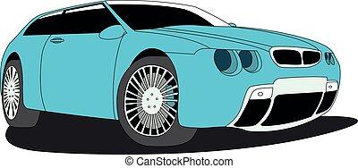 hatchback, azul, isolado, vetorial, ilustração