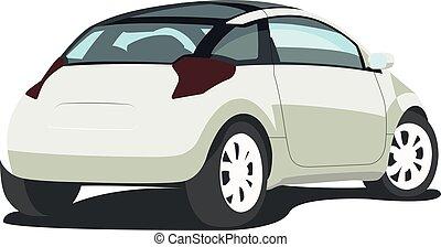 hatchback, branca, realístico, isolado, vetorial, ilustração