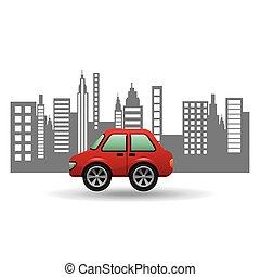 hatchback car city background design