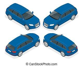 Hatchback car. Flat vector isometric illustration. High quality city transport icon