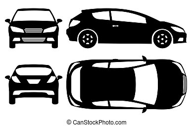 Hatchback car silhouette vector illustration with side, front, back, top view