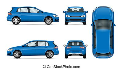 Hatchback car vector template on white background.