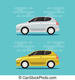 Hatchback cars in flat color style.