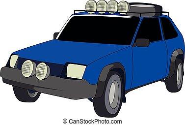 hatchback, desligado, azul, estrada, vetorial