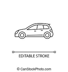 Hatchback linear icon. Cheap sports car. Auto with two-box design. Access to cargo area. Thin line customizable illustration. Contour symbol. Vector isolated outline drawing. Editable stroke