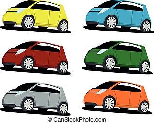 hatchback, pequeno, cor, jogo, diferente