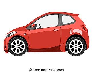Red cartoon hatchback on white background
