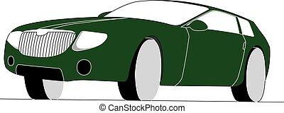hatchback, verde, isolado, vetorial, ilustração