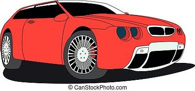 hatchback, vermelho, isolado, vetorial, ilustração