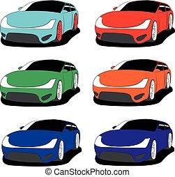 hatchback, vetorial, cor, jogo, diferente