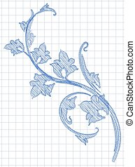 Hatched branch in hand drawn style. Blue ink on a schools checkered background.