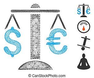 Hatched Euro Dollar Balance Vector Mesh