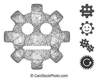 Vector wire frame gear pity smiley. Geometric wire carcass flat net generated with gear pity smiley icon, designed with crossed lines. Some bonus icons are added.