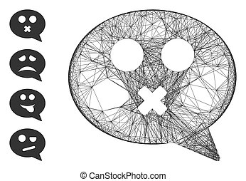 Hatched Mute Smiley Message Vector Mesh