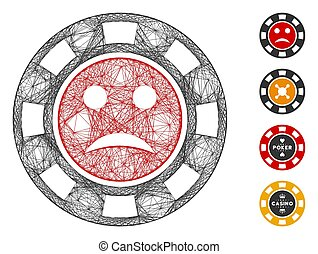 Vector net pity casino chip. Geometric linear carcass flat net made from pity casino chip icon, designed from crossed lines. Some bonus icons are added.