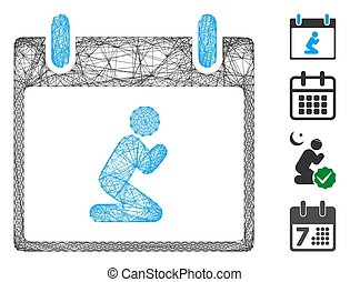 Vector wire frame pray person calendar day. Geometric wire frame 2D network made from pray person calendar day icon, designed from crossing lines. Some bonus icons are added.