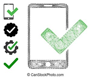Vector network valid smartphone. Geometric hatched carcass 2D network generated with valid smartphone icon, designed from crossed lines. Some bonus icons are added.